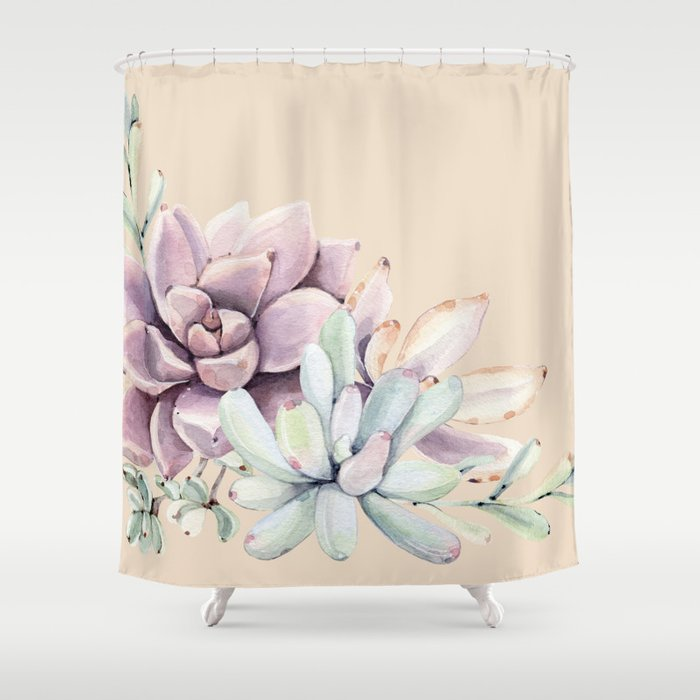Trendy Apricot + Mint Succulents Shower Curtain