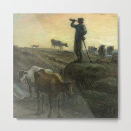 """Jean-François Millet """"Calling Home the Cows"""" charcoal drawing Metal Print"""