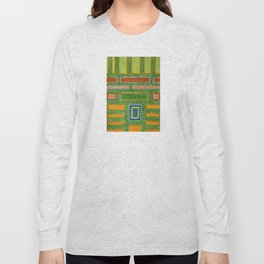 Filled Rectangles on Green Dotted Wall Long Sleeve T-shirt