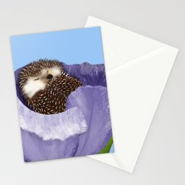 Sleeping Hedgehog In A Purple Tulip / Spring Decor Stationery Cards