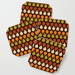 60s, retro pattern, Brown drops, yellow drops, geometric, vintage, drop pattern Coaster