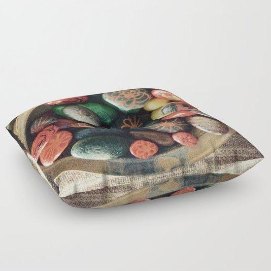 Rock art in ceramic bowl Floor Pillow