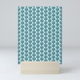 Turquoise Bue Daisy Pattern,Retro Mini Art Print