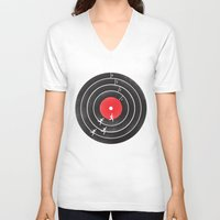 running V-neck T-shirts featuring Vinyl Running by Mateus Quandt