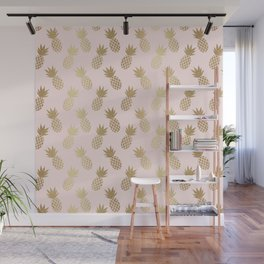 Pink & Gold Pineapples Wall Mural