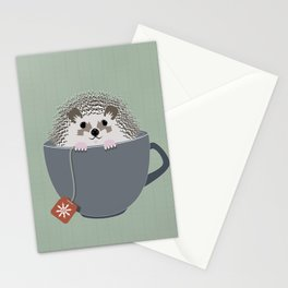 Holiday Tea Cup Hedgehog Stationery Cards