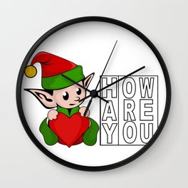 Hay How Are You Christmas Elf Wall Clock