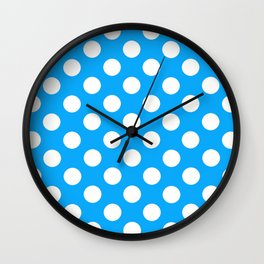 Blue White Spots Wall Clock