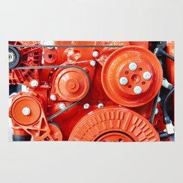 Red diesel engine for truck Rug