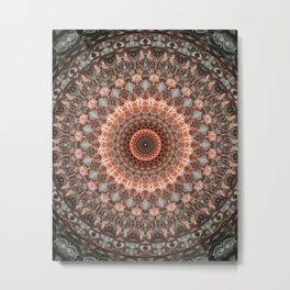 Detailed mandala in brown and peach tones Metal Print
