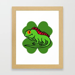 Iguana On 4 Leaf Clover- St. Patricks Day Funny Framed Art Print