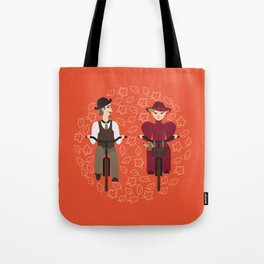 Retro cyclists Tote Bag