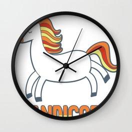 Cute Candicorn Halloween Candy Corn Unicorn design Wall Clock