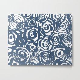 Navy Flower Bundle Metal Print