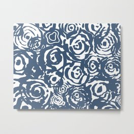 Navy Flower Bundle Metal Print