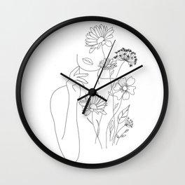 Minimal Line Art Woman with Flowers III Wall Clock