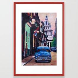 Cuban Oldtimer Street Scene in Havanna Cuba with Buena Vista Feeling Framed Art Print