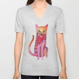 pet cat with precious prey Unisex V-Neck