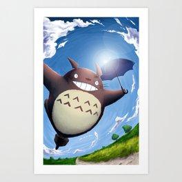 Totoro Summer Flight Art Print