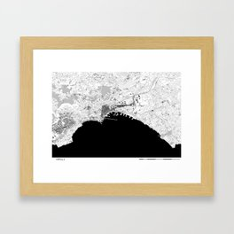 NAPOLI BLACK & WHITE MAP Framed Art Print