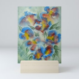 Abstract Flowers Blue Watercolor Mini Art Print
