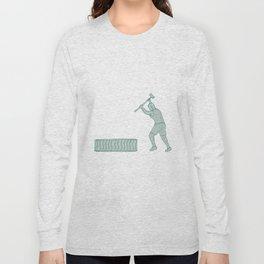 Fitness Athlete Sledge Hammer Striking Tire Drawing Long Sleeve T-shirt