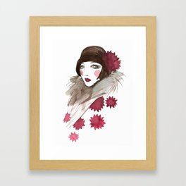 In a red pattern Framed Art Print