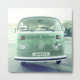 Vintage Wander van. Summer dreams. Green Metal Print