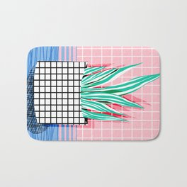Glam - pop art memphis neon house plants throwback retro 80s style cool brooklyn style minimalism Bath Mat