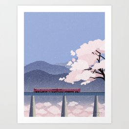 Train and cherry blossoms  Art Print