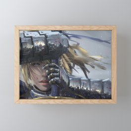 Medieval Gorgeous Female Fighter Knight Steel Armor Weaponry UHD Framed Mini Art Print