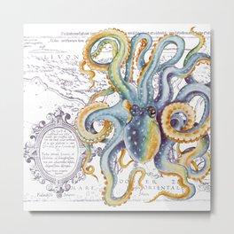 Octopus Steel Blue Vintage Map Metal Print