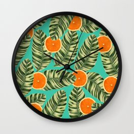 Oranges On Teal Exotic Wall Clock