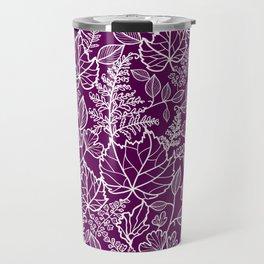 Plum Maple Leaves Travel Mug