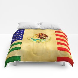 MEXICAN AMERICAN FLAG - 017 Comforters
