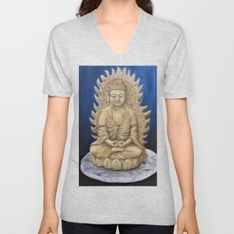 Meditation Buddha Oil Painting Still Life Peaceful Spiritual (Tranquil Space) Unisex V-Neck