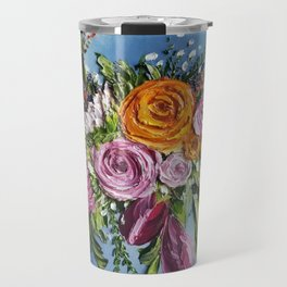 Bright Colorful Flowers Painting,Thick Paint,Textured Flowers Art,3d Floral Art,Eclectic Decor,Color Travel Mug
