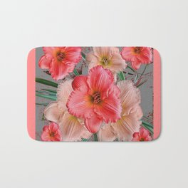 CORAL COLORED  PINK & CREAM DAYLILIES Bath Mat