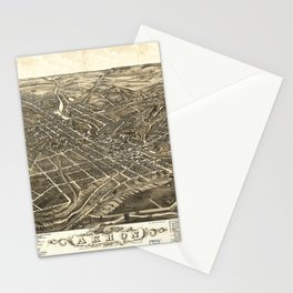Aerial View of Akron, Ohio (1882) Stationery Cards