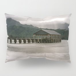 Hanalei Pier Bay Kauai Hawaii Printable Wall Art | Tropical Island Landscape Travel Photography Print Pillow Sham