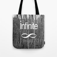 infinite Tote Bags featuring Infinite by Maria Lugilde