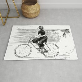 A Lovely girl is riding a bike at the beach - hand drawn retro style illustration Rug