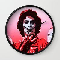 rocky horror picture show Wall Clocks featuring The Rocky Horror Picture Show - Pop Art by William Cuccio aka WCSmack