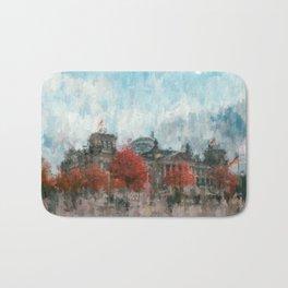 Bundestag, Reichstag Berlin Mitte -  impressionism style print Illustration  / abstract landmark Bath Mat