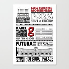 Early European Modernism Type & Architecture Canvas Print