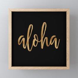 Aloha  - gold on black Framed Mini Art Print