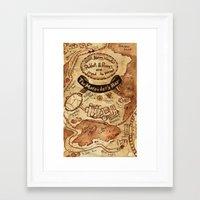 marauders Framed Art Prints featuring Marauders Map by Dasha Borisenko