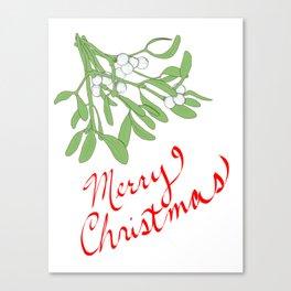 Merry Christmas Under Mistletoe Canvas Print