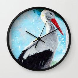 Animal - The beautiful stork - by LiliFlore Wall Clock