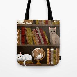 cat bookshelf Tote Bag